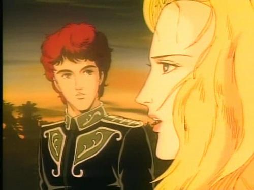 Reinhard's best friend, Kircheis, and his sister, Annerose