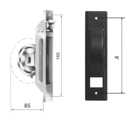 AVVS5 semi-recessed wrapper with black plate