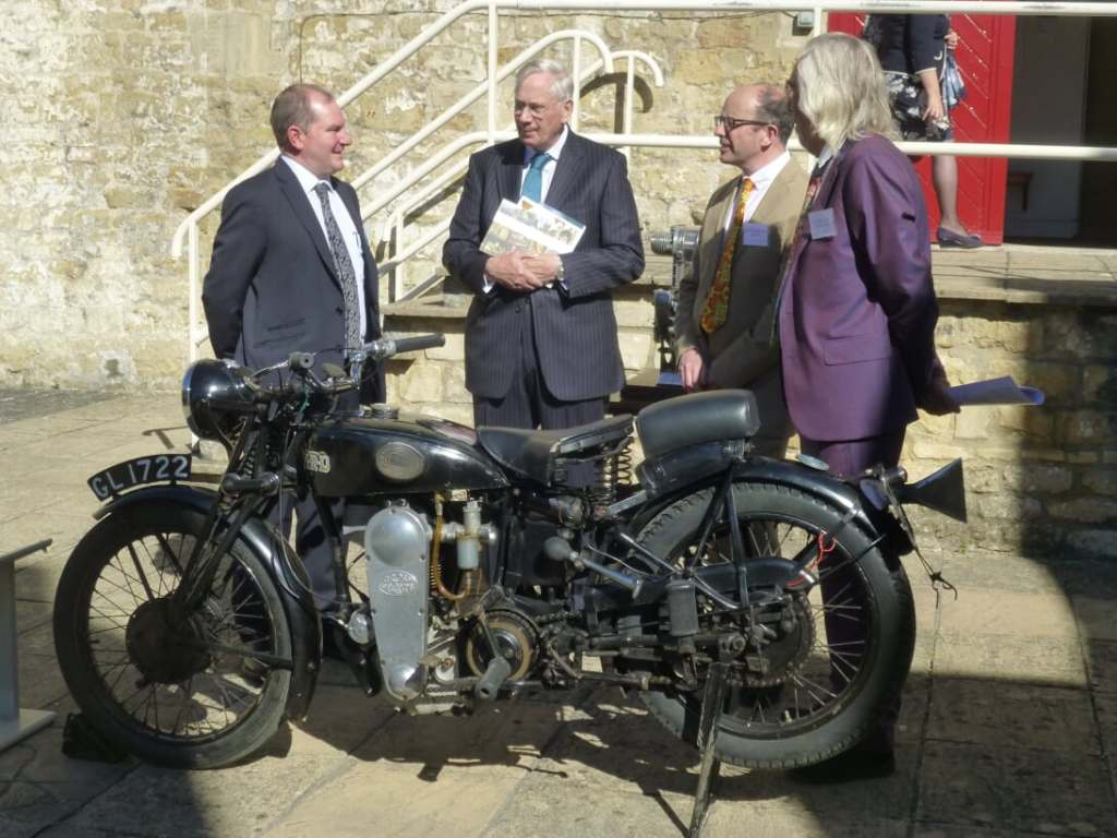 Duke of Gloucester with Roland Cross's motor cycle