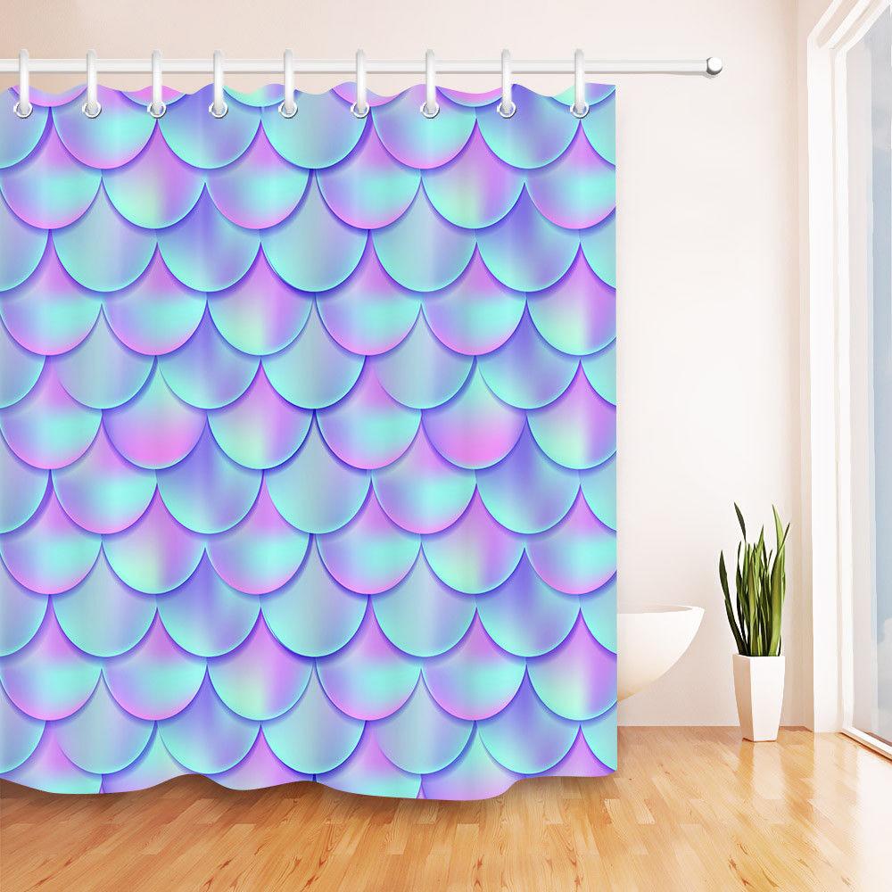 cheap custom shower curtains Holographic Mermaid  bathsuppliesstore