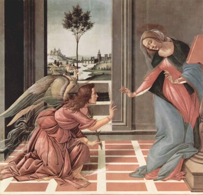 """""""הבשורה"""" מייצוג סימבולי (המאה 13) לחיקוי ראליסטי של אנטומיה ופרספקטיבה (המאה ה15 בוטיצ'לי) - שכלול המימזיס ברנסנס"""