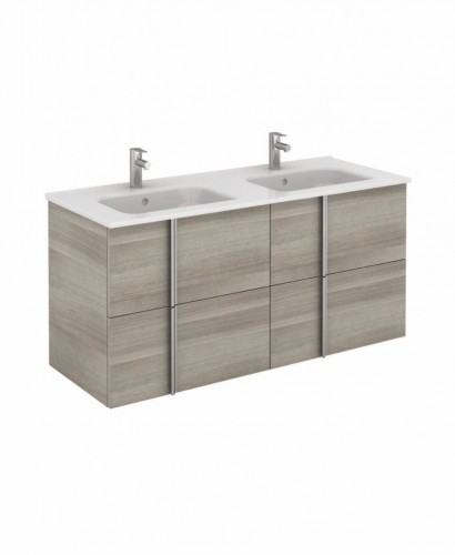 Double Sink Vanity Units Athena 120cm Sandy Grey Double Vanity Unit With Slim Basin Drawers