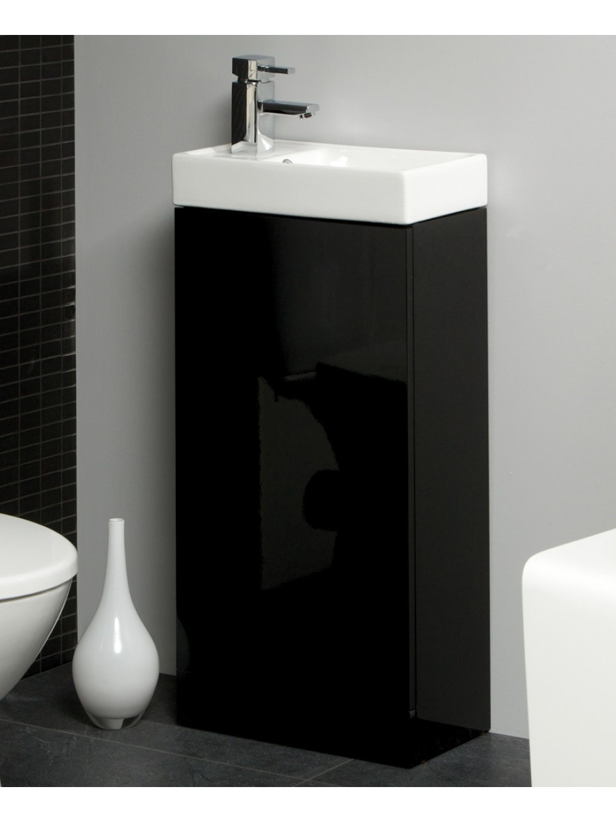 Space 40cm Black Floor Standing Unit  Cloakroom Basin