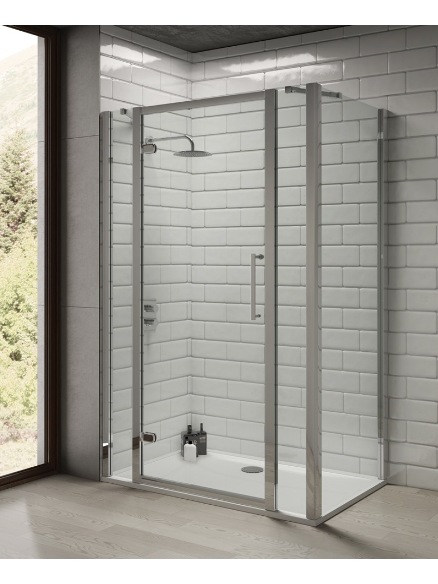 Rival 8mm 1300 Hinge Shower Door With Double Infill Panel 1000 Mm Side Panel