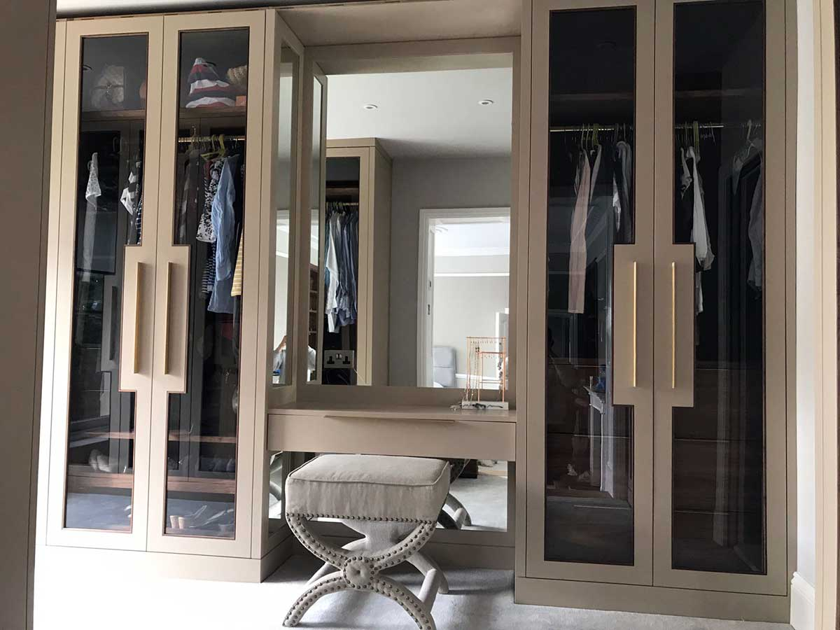Luxurious Dressing Room With Glazed Fitted Wardrobes
