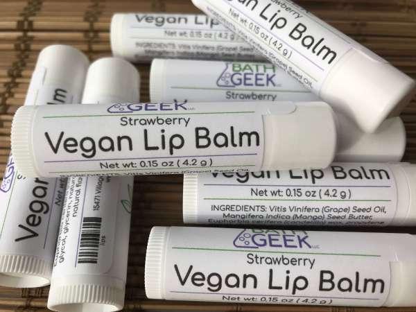 Strawberry Vegan Lip Balm - Close View