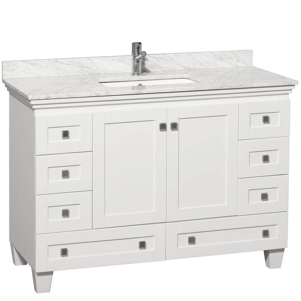 48 Acclaim Single Bath Vanity  White  Bathgemscom