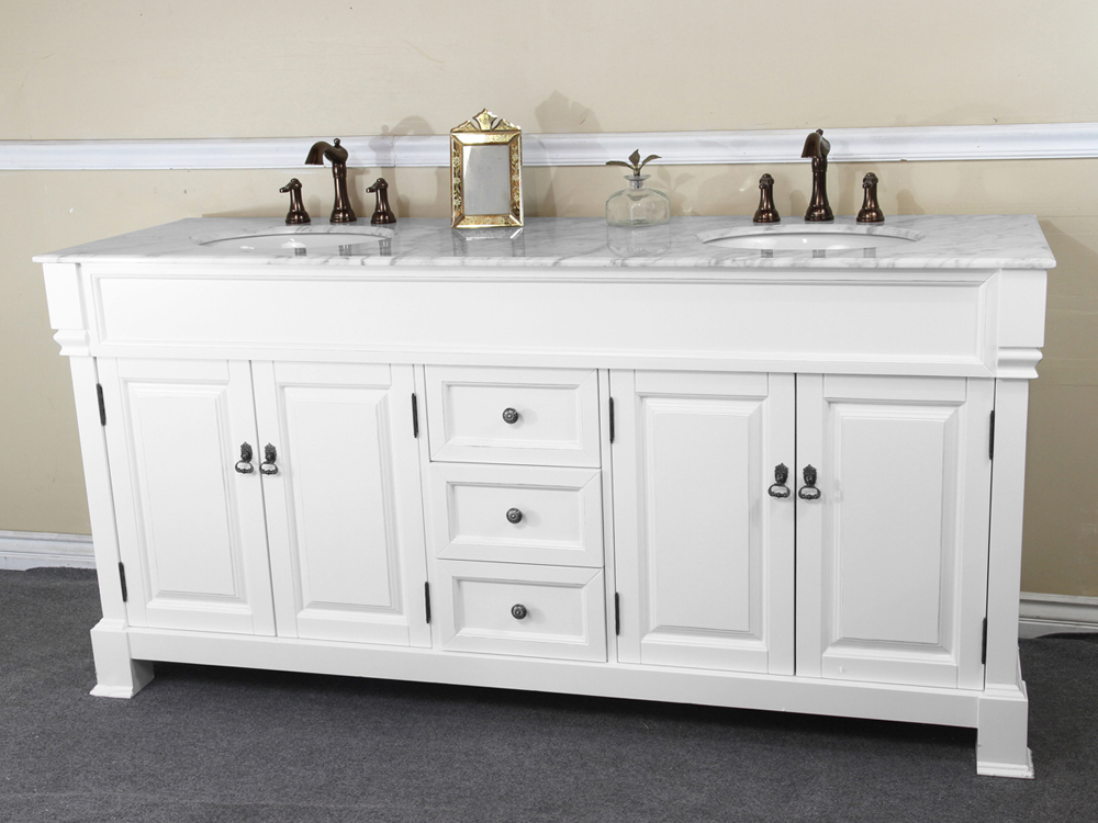 72 Helena Double Sink Vanity  White  Bathgemscom
