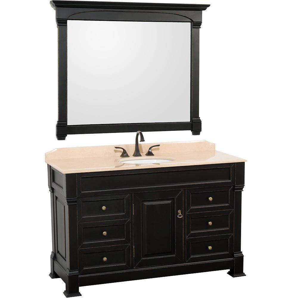 55 Andover Single Bath Vanity  Black  Bathgemscom