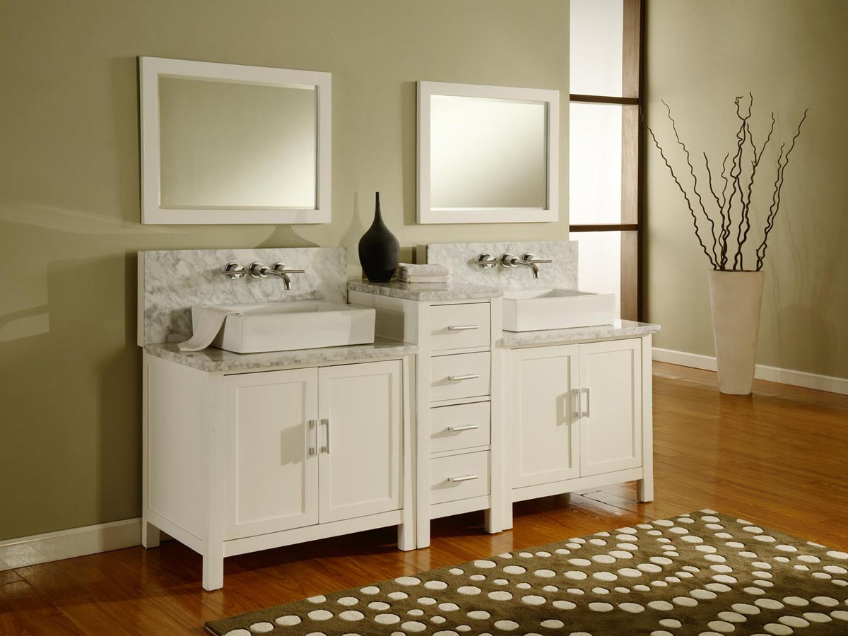 84 Torrington Double Vessel Sink Vanity  White