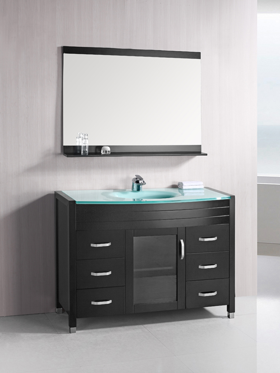 48 Waterfall Single Bath Vanity  Glass Top  Bathgemscom