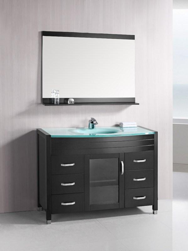 "48"" Waterfall Single Bath Vanity - Glass Top"