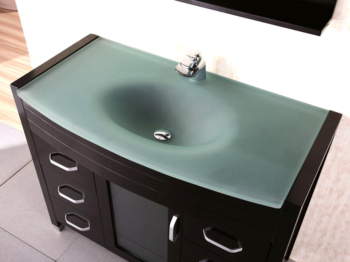 48 Waterfall Single Bath Vanity  Glass Top  Bathgemscom