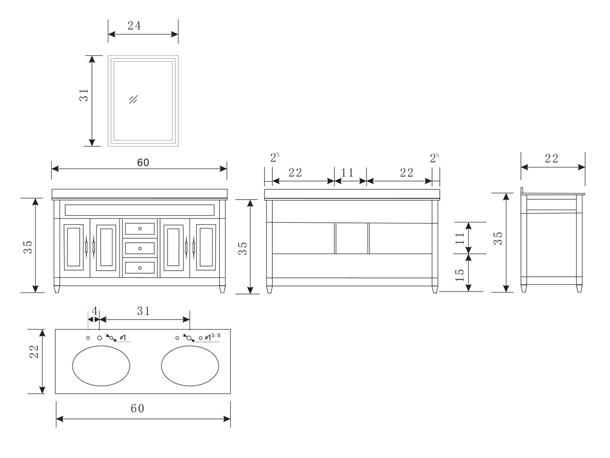 60 Inch Double Sink Vanity Dimensions