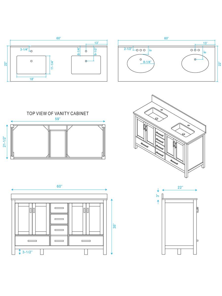medium resolution of 60 sheffield double sink vanity dimensions