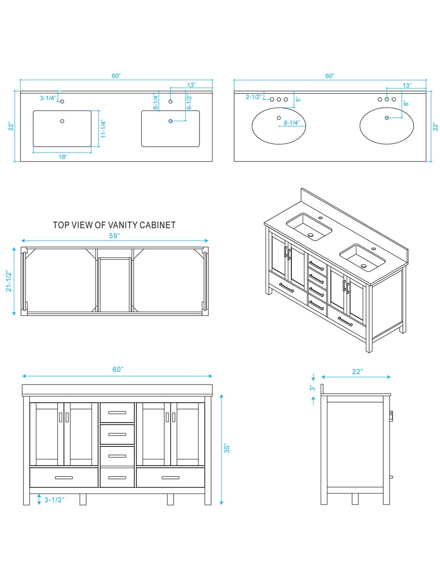 hight resolution of 60 sheffield double sink vanity dimensions