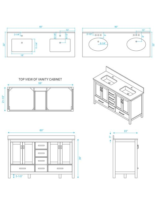 small resolution of 60 sheffield double sink vanity dimensions