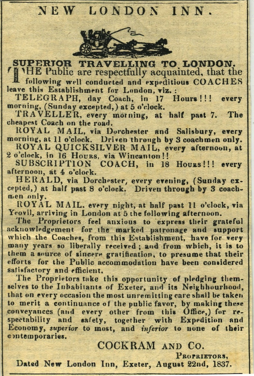 1837 advertisement of the New London Hotel, Exeter [www.bathpostalmuseum.co.uk]