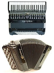 Piano accordion and button accordion