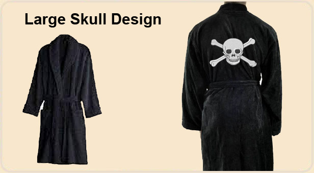 Pirate skull and bone design on back of black robes