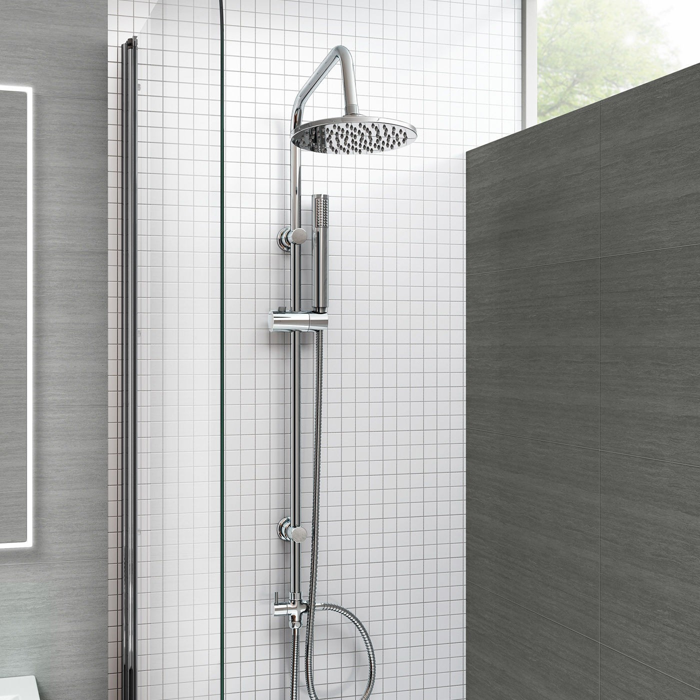 Windsor Bath Shower Mixer Tap With 3 Way Round Rigid Riser