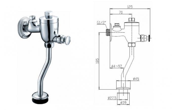 Chrome Brass Bathroom Sink Faucets / Self-Closing Urinal
