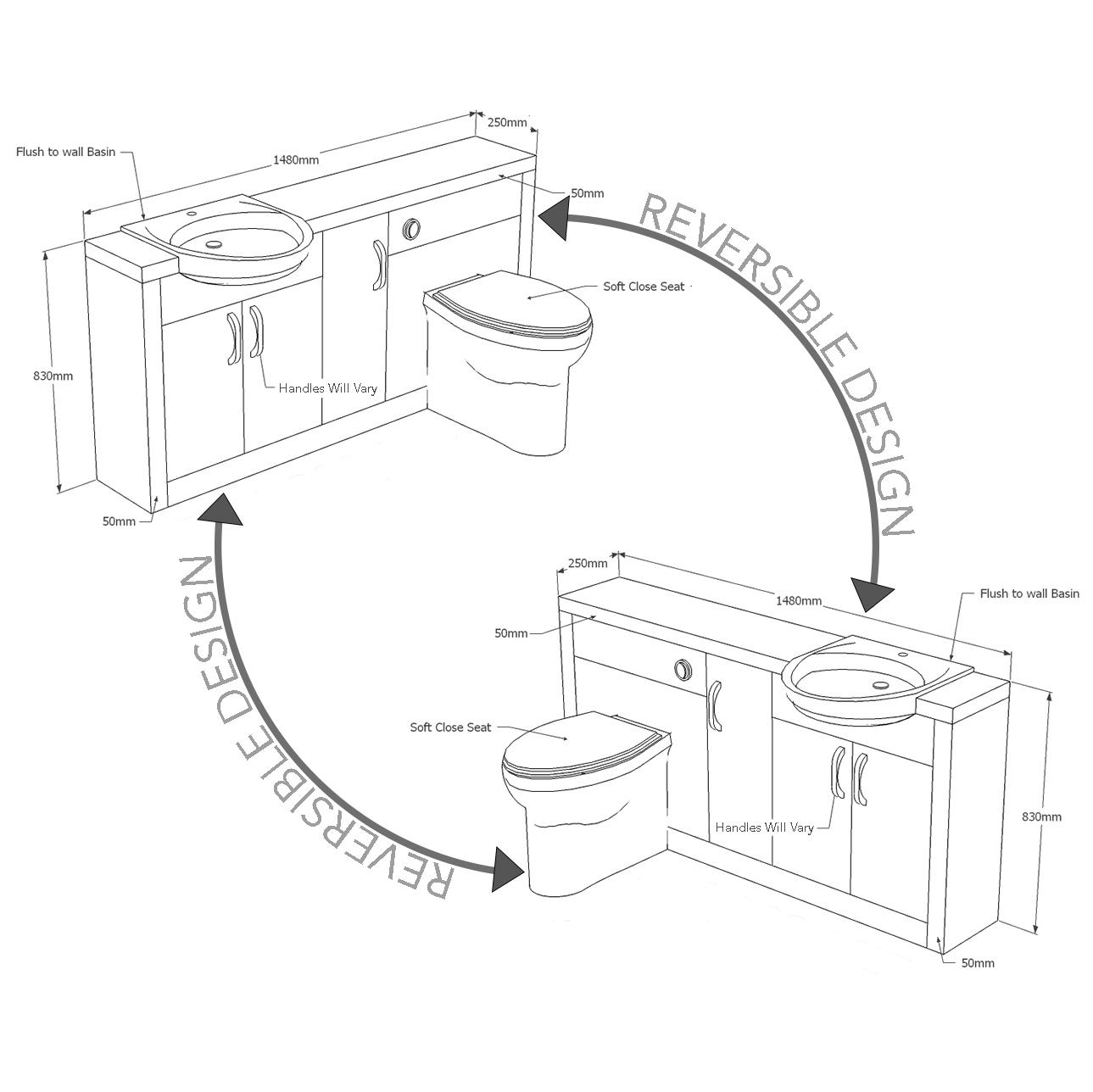 Bathroom Fitted Furniture 1500mm Hacienda Basin Unit Grey