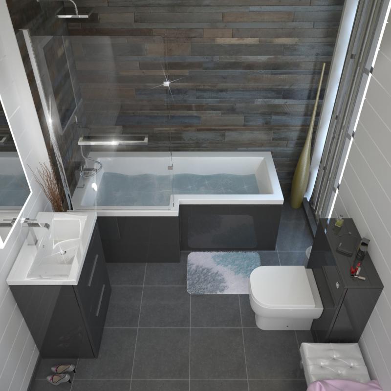 Patello Grey Shower Bath Suite Buy Online At Bathroom City