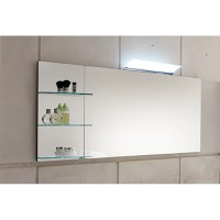 SolitAire Mirror Rear Wall Glass Panel 3 Shelves 700 X 350 ...