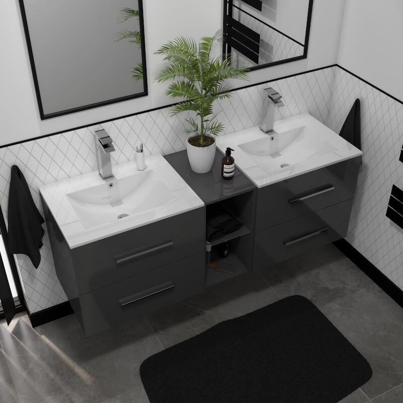 sonix 1500 wall hung double basin vanity unit grey
