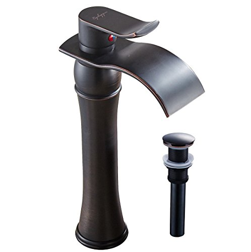 Waterfall Bathroom Sink Faucet Single Handle Oil Rubbed Bronze With Drain Mixer