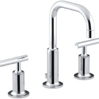 KOHLER K-14406-4-CP Purist Widespread Lavatory Faucet, Polished Chrome