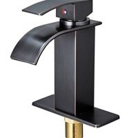 Aquafaucet Waterfall Spout Single Handle Bathroom Sink Faucet Oil Rubbed Bronze