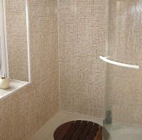 Beige Mosaic Bathroom Tiles : Cool Gray Beige Mosaic