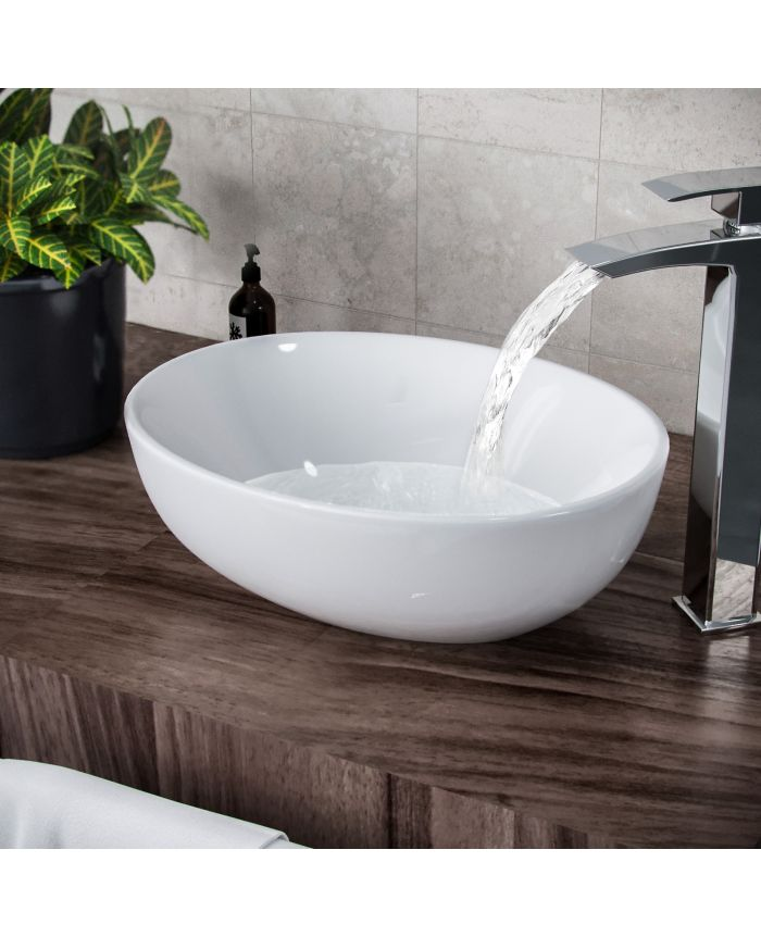 etive 410 x 335mm oval cloakroom counter top basin sink bowl