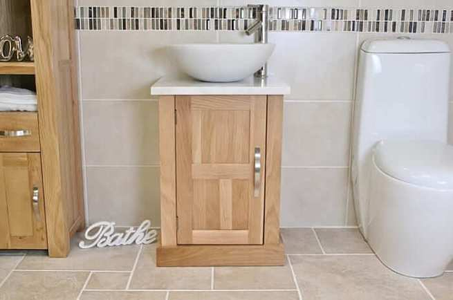 Round White Marble Basin & White Marble Top on Oak Vanity Unit