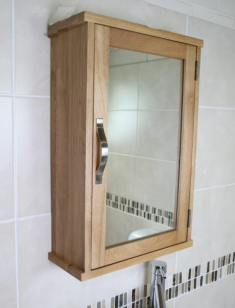 Solid Oak Wall Mounted Bathroom Cabinet 351