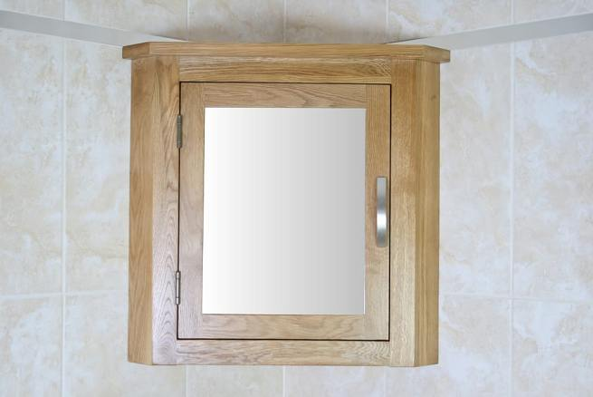 Oak Bathroom Storage Unit with Mirror
