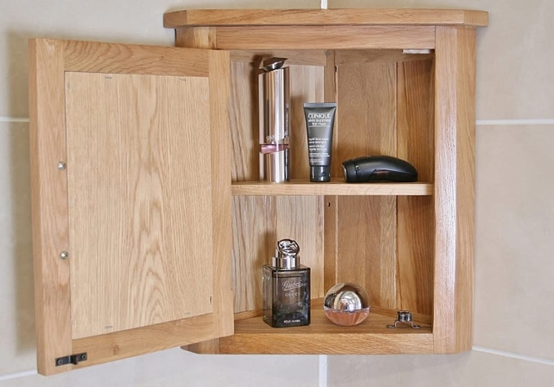 Solid Oak Wall Mounted Corner Bathroom Cabinet 601