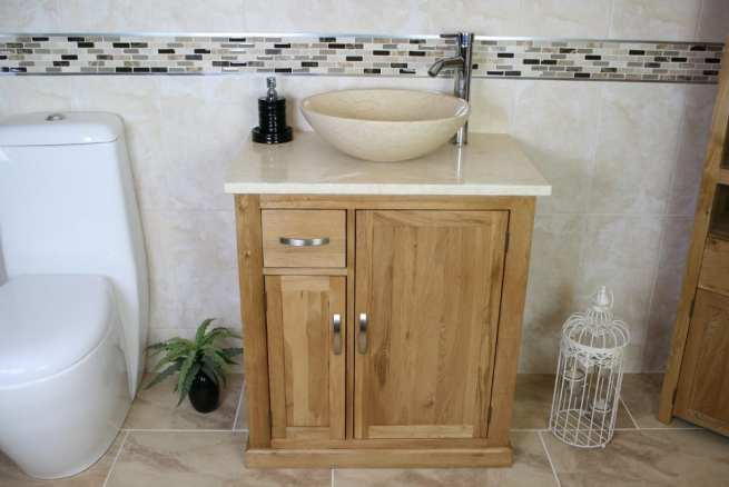 Oak Vanity Unit with Cream Marble Top & Cream Bathroom Basin