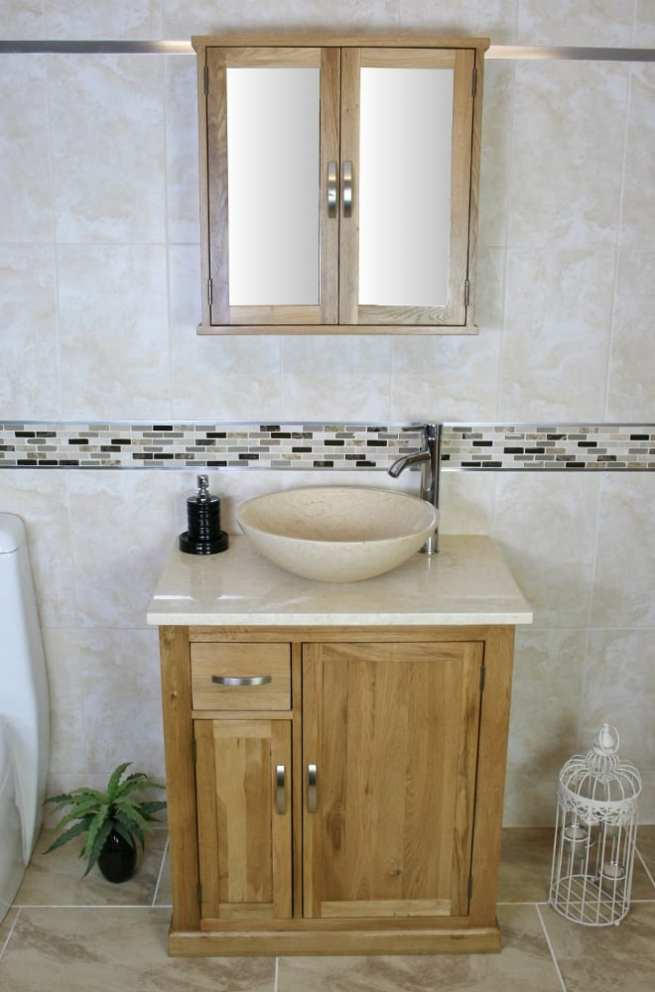 Cream Marble Topped Vanity Unit with Cream Marble Basin & Mirror Bathroom Cabinet Set
