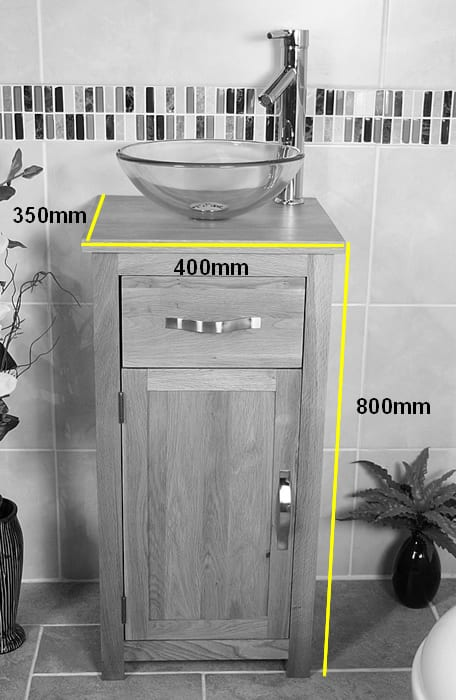 The Size of Cloakroom Oak Top Vanity Unit Measurements