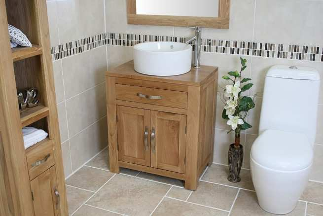 Round White Ceramic Bathroom Basin on Oak Vanity Unit - Far View