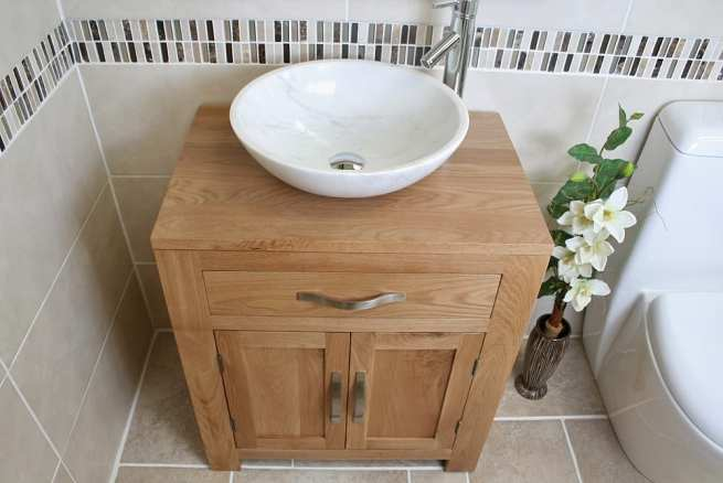 Above View of White Marble Basin on Oak Top Vanity Unit