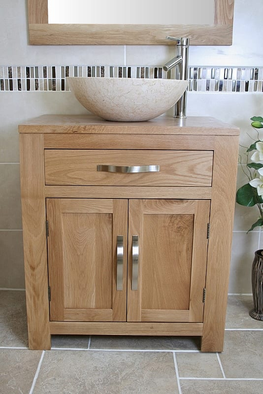 Front View of Cream Marble Basin on Oak Top Vanity Unit