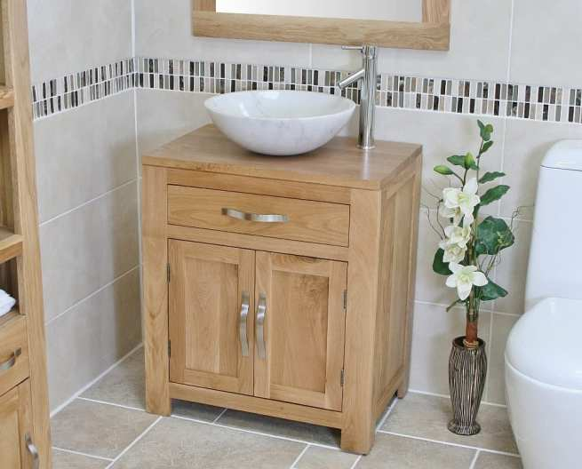 Close Side View of White Marble Basin on Single Oak Top Vanity Unit