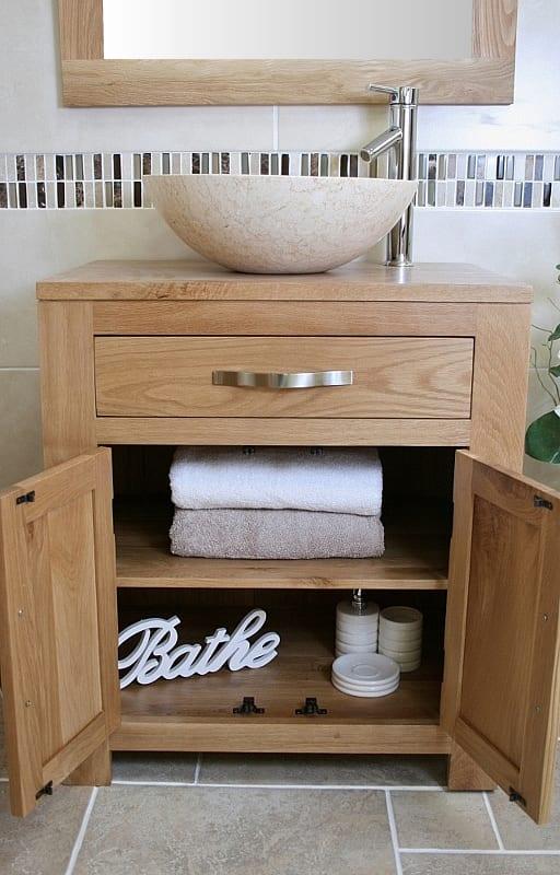 Cream Marble Basin on Single Oak Top Vanity Unit - Showing Storage