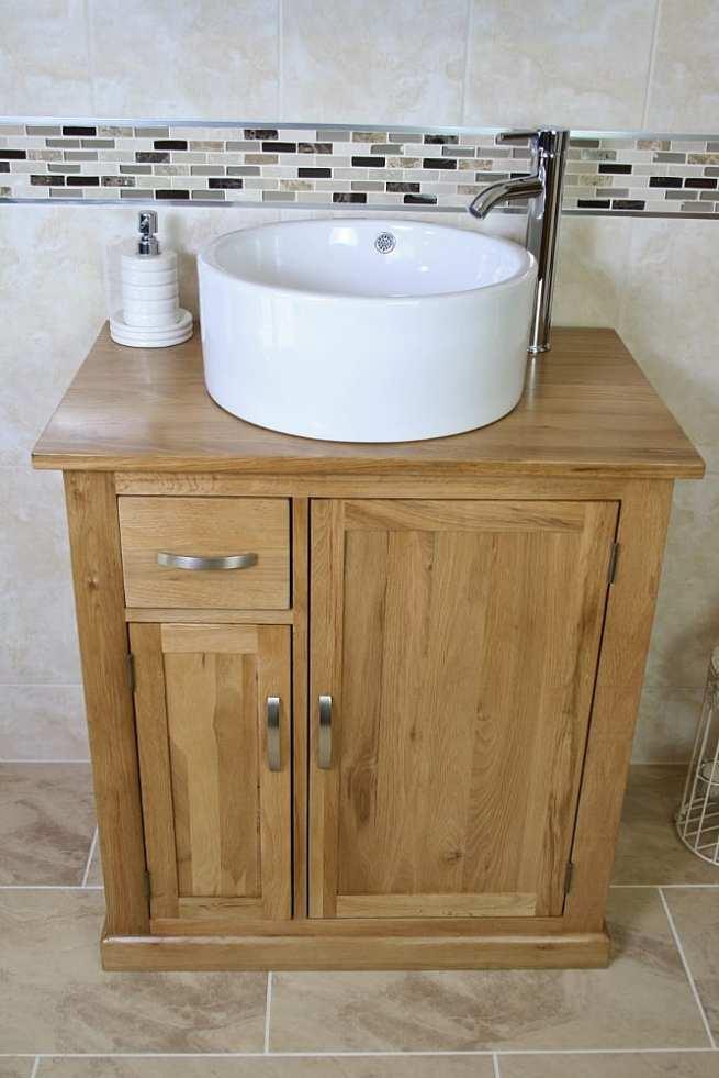 Ceramic Round White Wash Basin on Oak Top Vanity Unit