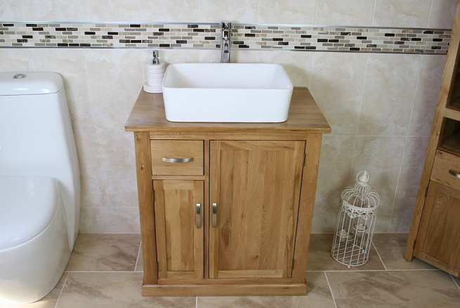 Oak Top Vanity Unit with Rectangle White Ceramic Bathroom Basin