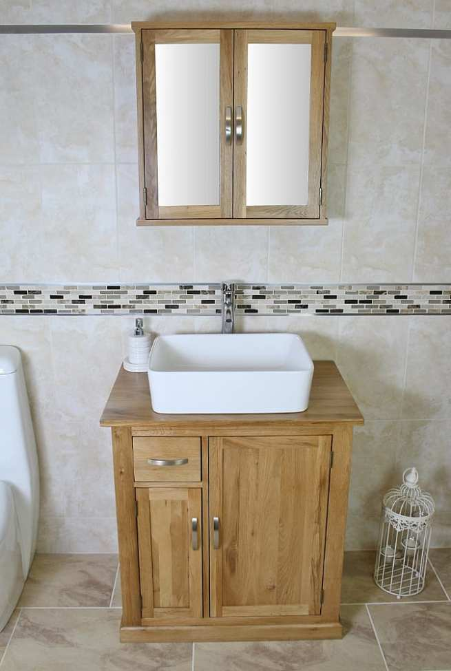 Small Oak Vanity Unit & White Ceramic Basin with Mirror Bathroom Cabinet - Set